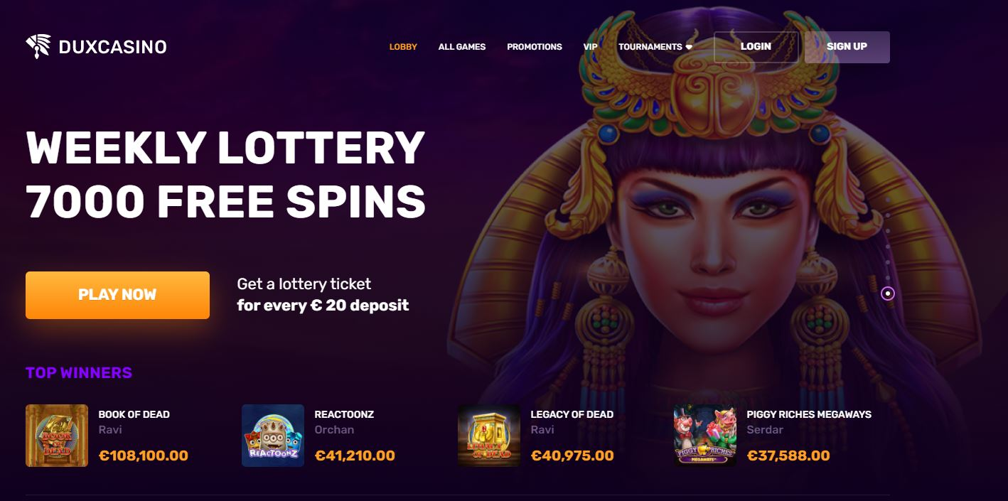 Dux Casino Weekly Lottery screenshot
